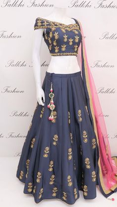 Lehenga designs by Palkhi Fashion. Recreate your closet with designer lehengas and ghaghras from famous indian designers in India. Indian Gowns Dresses, Indian Fashion Dresses, Indian Designer Outfits, Girls Fashion Clothes, Indian Designers, Long Dresses, Indian Lehenga, Lehenga Choli, Anarkali
