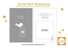 Faire Part Naissance - Cage et Oiseau