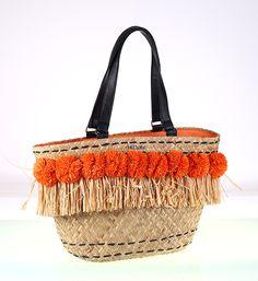 Prírodná zdobená slamená taška s brmbolcami a strapcami