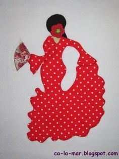 Patchwork: camiseta con flamenca Applique Pillows, Embroidery Applique, Quilt Patterns, Sewing Patterns, Patchwork Tutorial, Flamenco Dancers, Hand Quilting, Applique Designs, Diy Projects To Try