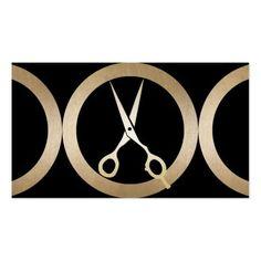 Hair Stylist Trendy Gold Scissor Beauty Salon Business Card