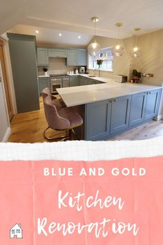 Looking for blue kitchen ideas? I love my blue kitchen, I've added gold accessories to my blue kitchen to warm up the home. Come and have a look at my blue and gold kitchen reveal where you can see what we've done with the kitchen #bluekitchen #lightbluekitchen #blueandgoldkitchen #goldandbluekitchen #warmkitchen #kitchenreveal #kitcheninteriors Kitchen Units, Kitchen Doors, Kitchen Handles, Kitchen Layout, Kitchen Ideas, Kitchen Utensils, Warm Kitchen, Gold Kitchen, Home Bedroom Design