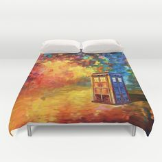 Police Phone Box at Rainbow city Art painting DUVET COVER @pointsalestore @society6 #duvetcover #tardisdoctorwho #doctor #davidtennant #publiccallbox #phonebox #12thdoctor #10thdoctor #painting #artpainting #badwolf #raainbow #city