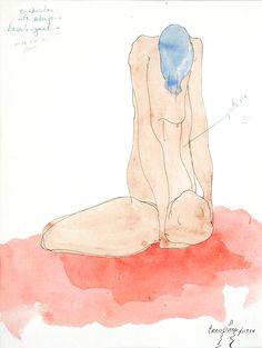 Bernardo CRESPIN : Boceto para un Desnudo femenino ; 1974 ; lápiz y acuarela sobre papel ; 32.5cm x 25cm ; colección MDAA (adquirido de la galería Humberto Saravia en Agosto 2012)
