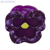 Mother's Day Gift Ideas : Playful Pansy (Erstwilder Purple Resin Brooch), now available. Hand assembled and hand painted, presented in a branded box. Plastic Jewelry, Resin Jewelry, Jewelry Necklaces, Man Child, Quirky Gifts, Bespoke Jewellery, Jar Gifts, Love To Shop, Pin Up Style