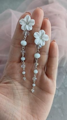 Bridal white, blush and peach floral long earrings, Wedding boho flower earrings, Bridal long earrings with flowers, stud floral earrings Clay Earrings, Polymer Clay Jewelry, Flower Earrings, Beaded Earrings, Earrings Handmade, Beaded Jewelry, Handmade Jewelry, Flower Jewelry, Cute Jewelry