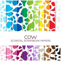 Cow Digital Paper in 22 rainbow colors for by coloryourway on Etsy