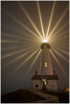 The Pigeon Point Lighthouse is lit every year in a sort of celebration. This was the 135th anniversary of it's lighting and I stood out in the cold fog for over an hour waiting for the five minute window where they keep the fresnal lens from rotating. It was worth every second... #lighthouse