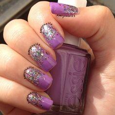 Purple and glitter!  @amysnails