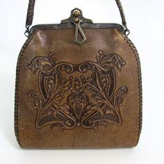 Beautiful Hand-Tooled Floral Art Nouveau Leather Purse ~ Art & Crafts 1921