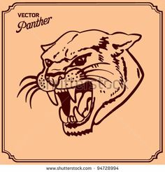 Panther Head Tattoo - stock vector