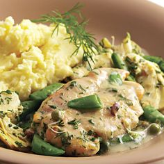 Chicken with Sugar Snap Peas and Spring Herbs | 20 Easy Boneless Chicken Breast Recipes    The perfect recipe after a visit to your local farmer's market, this dish is light, springy and elegant -- yet perfectly kid-friendly. Serve over a bed of rice or mashed potatoes to soak up the flavorful sauce.