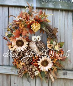 XL Rustic Natural Ivory rust brown Autumn Owl Wreath, by IrishGirlsWreaths, $179.99