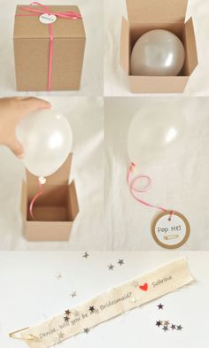 5 Creative ways to ask: Will you be my bridesmaid? This photo is a DIY balloon in a box that you have to pop to find a secret message inside!