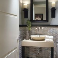 Small, simple and clean powder room