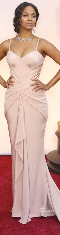#Oscars 2015 ♔ Zoe Saldana in an Atelier Versace gown