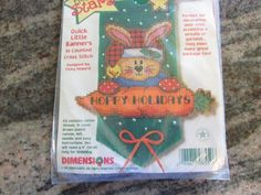 DIMENSIONS, COUNTED CROSS STITCH QUICK LITTLE BANNERS, HOPPY HOLIDAYS #DIMENSIONS #QUICKLITTLEBANNERS.  eBay item number:131569912363