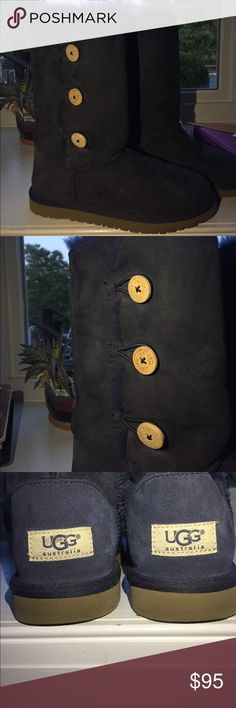 Navy Blue Triple Button Uggs Very comfy and warm, worn once or twice and are in really good condition. UGG Shoes Winter & Rain Boots