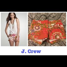 NWOT J. Crew printed shorts Mint condition, never worn. Love this print! J. Crew Shorts