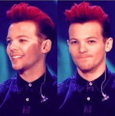 Louis Tomlinson red hair for #RedNoseDay To be honest it looks good on him(yes I like his original) but red looks good on him too! #WeNoticedYourHairLouis ❤❤❤❤