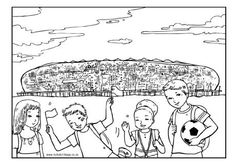 Soccer City was made known throughout the world in the last World Cup. Here it is as a colouring page, complete with some young football fans to colour in! Esl Worksheets For Beginners, Soccer City, World Cup Trophy, Activity Village, Get In The Mood, Football Fans, Colouring Pages, South Africa, African
