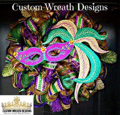 Hey, I found this really awesome Etsy listing at https://www.etsy.com/listing/176094359/whimsical-mardi-gras-mask-mesh-wreath