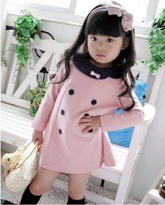 New 2013 hot Sale Cotton Korean dresses for girls Kids clothes Double Breasted Baby Girl Princess Dress Long Sleeve retail A001 $9.78
