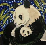 Panda and Baby Ceramic Art Tile
