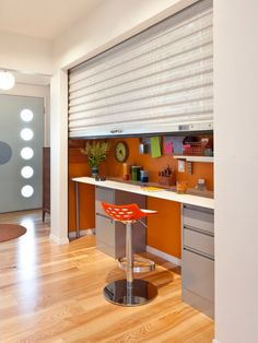 Hidden Home Office - Secret Rooms: 10 Special Spaces Hidden From Sight - Bob Vila Small Workspace, Small Space Office, Home Office Space, Small Spaces, Closet Office, Roll Up Doors, Home Office Storage, Office Organisation, Closet Organization