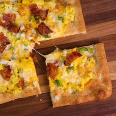 Breakfast Pizza. I would add spinach to mine and minus the green peppers.