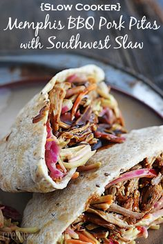 This looks an  sounds really good. Not quite sure what the broccoli slaw is but it sounds like it  worth trying.  bbq-pork-pitas-1-title http://lecremedelacrumb.com/2013/09/slow-cooker-memphis-pork-pitas-with-southwest-slaw.html