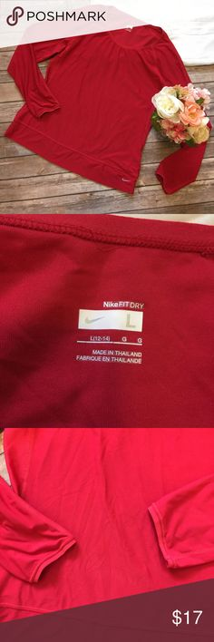 """Nike   Red Fit Dry Long Sleeve Size L Great used condition! No stains or holes. Approximate measurements (taken with garment lying flat) pit to pit: 19""""  length: 25""""   Sleeve length: 27"""" Nike Tops"""