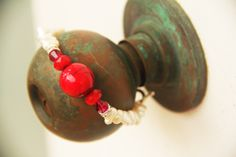 pearl bracelet w red accent @ Branching Fig