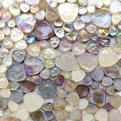 IRIDIZED CHAMPAGNE Transparent Glass Mosaic E02 Sheet
