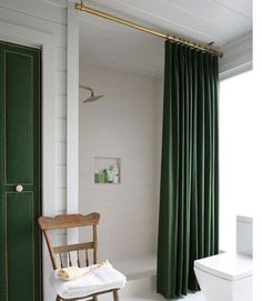 long shower curtain rod. ceiling mounted curtain rod Removing the tiny tub made way for an  extra large shower space The a custom cotton panel with 8 Small But Impactful Bathroom Upgrades To Do This Weekend