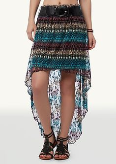 Printed Lace High Low Skirt
