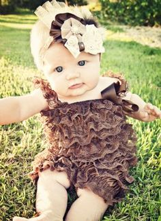 Chocolate & Lace Headband  Lace Romper