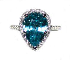 Gorgeous 6.6 carat Cambodian Blue Zircon Pear & Diamond Ring on Etsy, $2,199.00
