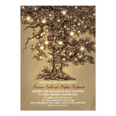 Vintage String Lights Tree Rustic Wedding Invitation Card