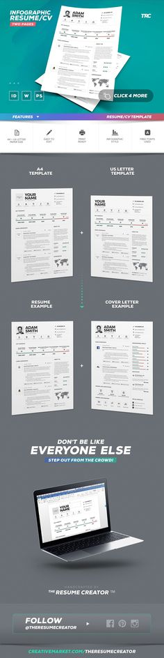 Infographic Resume/Cv Template Vol.9 by TheResumeCreator on @creativemarket @resumecreator