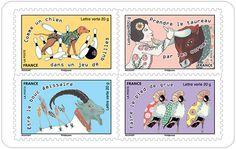 La langue française est riche d'expressions inspirées par les animaux. Voici donc 12 timbres illustrant certaines expressions courantes, pleines de raccourcis, de bon sens, d'humour et très imagées...