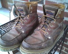 Inexpensive pair of Dickies work boots--though actually Goodyear welted (man-made welt, ha-ha) none of the bells & whistles of boots costing X10 more. A couple thousand hours of wear--they won't die!!