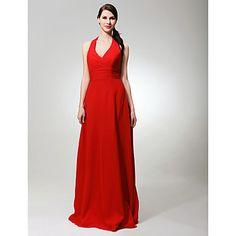 Sheath/ Column Halter Floor-length Chiffon Bridesmaid/ Wedding Party Dress – USD $ 99.99