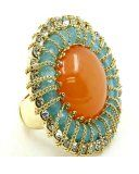 Hilary Flower Design Coral Stone Golden Tone Fashion Ring