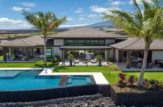 Beautiful Hawaii inspired landscaping created to enhance this luxurious property! An exquisite interior design with designed by Vancouver… Hawaii Homes, 5 Bedroom House, Gated Community, Big Island, Open Concept, Contemporary, Modern, Bedrooms, Relax