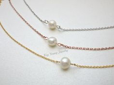 Small pearl necklace Single pearl necklace Wedding by KeyYoung