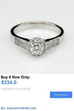 Wedding rings: 3 Ct Natural Diamond Engagement Ring Round Cut D/Vvs 14K White Gold Enhanced BUY IT NOW ONLY: $334.0 #priceabateWeddingrings OR #priceabate