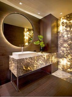 What an interesting lighting effect going on this #bathroom! #bathroomdesign #bathroomremodel www.remodelworks.com