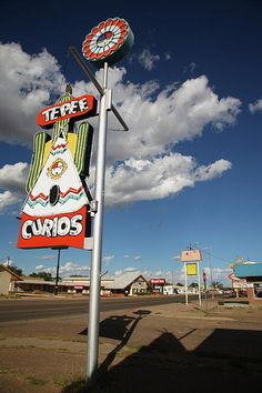 """Route 66 - Tepee Curios. One of the most famous of the Rt. 66 towns, Tucumcari is also one of the most fun towns to photograph - old motels, neon signs, curios shops and a never ending blue sky. """"The Fine Art Photography of Frank Romeo."""""""