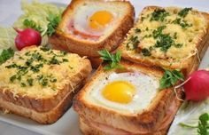 Unusual and Delicious Sandwiches for Breakfast. Delicious sandwiches for a lovely breakfast with your family! Mega Sandwich, Sandwich Recipes, Monte Cristo Sandwich, Sandwich Ingredients, Recipe Ingredients, Good Food, Yummy Food, Stuffed Mushrooms, Stuffed Peppers